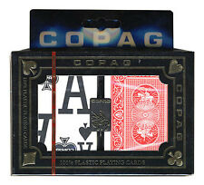COPAG MAGNUM PLASTIC POKER PLAYING CARDS 2 POKER SIZE DECKS MEGA INDEX *