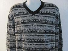 NEW Men's XL EXTRA LARGE R & Y V-Neck Sweater BLACK w WHITE & GREY GRAY $70