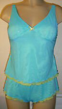 SHEER CAMISOLE SET BLUE/GREEN SHORT SIZE 12 NIGHTWEAR UNDERWEAR LINGERIE NEW