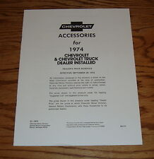 1974 Chevrolet Car & Truck Dealer Installed Accessories Brochure 74 Chevy