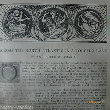 Illustrated Antique Victorian Naval Military Torpedo Boat Article 1890 Navy