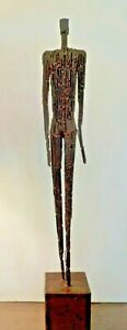 Brutalist Mid Century Elongated Man Sculpture Giacometti Influence Pieced Wire