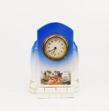 Antique 1910s Art Nouveau JUNGHANS Porcelain Table Clock w Roccoco Theme