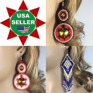 Handcrafted Native Style Beaded Multi-Color Turtle Dangle Fashion Hook Earrings