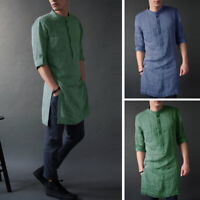 Men's Kurta Shirt Long Sleeve Formal Short Kaftan Button Causal Slim Fit T Shirt