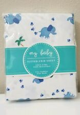 New My Baby blue elephants Fitted Crib Sheet ~ Also fits Toddler Size Bed NIP