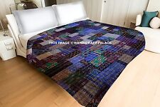 Indian Patchwork Vintage Kantha Quilt Handmade Throw Silk Queen Size Blue Quilt