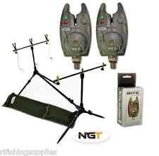 NGT Carp Fishing Rod Pod + Indicators Rests + 2 x Camo Bite Alarms + Batteries