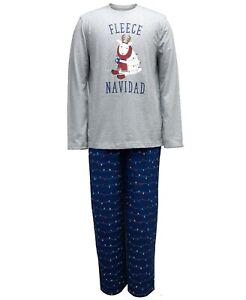Family Pajamas Matching Men's Fleece Navidad Pajama Set Holiday Lights Size L