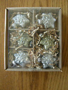 Set 6:Pottery Barn Mini Silver & Gold Mercury Snowflake Christmas Ornaments-New