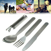 4Pcs Stainless Steel Fork Spoon Cutter Opener Set Kit Cutlery For Camping Hiking