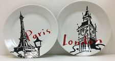 Paris & London Black White Red Dessert Plates Pacific Island Creations Co.