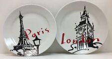 Pacific Island Creations Co. Paris & London Black White Red Dessert Plates
