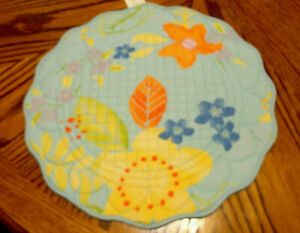 Round Scalloped Edge Quilted Cotton Place Mats ~ Brand New ~ Spring by Sonoma