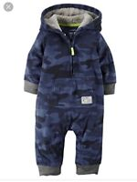 NWT Baby Boys 12 mo CARTERS One Piece Outfit Hooded Fleece Blue Camo Camouflage