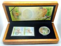 CANADA 5 Dollar 2005 Tailless Deer Fawn Stamps Wooden Box PURE SILVER PROOF SET