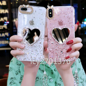 Bling Love Heart Mirror Clear Soft Phone Cases With Tempered films And Lanyard