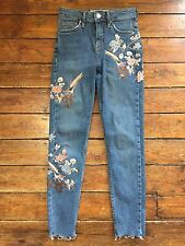 Topshop Moto Embroidered Jamie Jeans  Blue  Size 6 W25 To Fit L30 Defected Bx79
