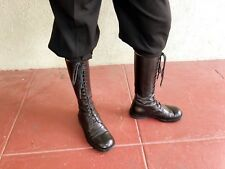 Ann Demeulemeester 90s Runway Black Lace-up Tall Riding Boots 36