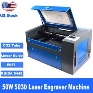 50W 5030 RUIDA DSP CO2 Laser Cutter Engraving Machine Linear Guide 110V/220V