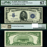FR. 1654 N $5 1934-D Silver Certificate U-A Block Narrow Superb Gem PMG 67 EPQ
