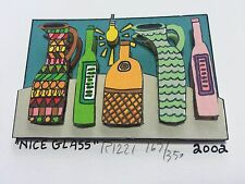 "James Rizzi: original 3D ""NICE GLASS"", handsigniert, 81 RIZZI PRINTS, Mini 2002"