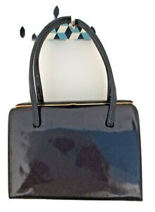 Vintage Ackery 1960's Navy Patent Leather 'Kelly' Bag