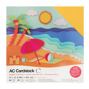 """American Crafts 12"""" x 12"""" Summer Design Textured Cardstock Pack - 60 Sheets"""