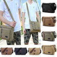 Men's Vintage Canvas Satchel School Cross Body Bag Shoulder Bags Work Messenger
