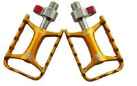 "Wellgo QRD-M111 Aluminium Bicycle Pedals QR Quick Release Ultralight 9/16"" Gold"