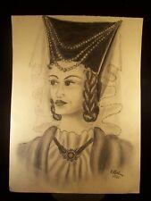 Highest Court Female Portrait 1948 Original Pencil Sketch by C. Kelm