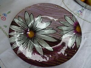 Striking Purple black gold silver glossy flower Floral Decorative Glass Plate