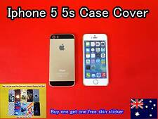 iPhone 5 5S Case Cover Protector Matte Hard Black /Gold  FREE skin sticker (D01)