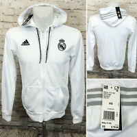 Adidas Men's Soccer Real Madrid Full Zip DP5188 French Terry Hoodie White Sz XS
