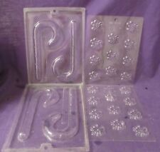 LOT or 4 Christmas candy canes chocolate candy molds