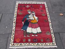 Old Traditional Hand Made Persian Oriental Wool Red Pictorial Gabbeh Rug 129x99