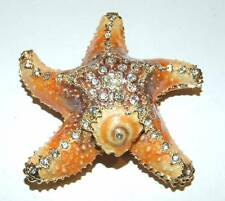 Starfish Bejeweled & Enameled Hinged Trinket Box W/Austrian Crystals