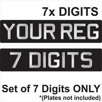 Set of 7 3d Gel SILVER Digits for Black Number Plates Domed Resin Making DIY REG