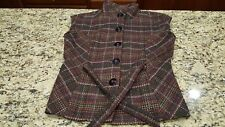 NWOT CAbi Poly blend Jacket Coat Vest brown beige orange plaid warm EC S
