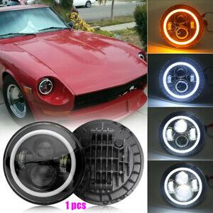 "Black 7"" Round LED Headlight Halo Angel Eye For Jeep Wrangler TJ LJ CJ JK & 240Z"