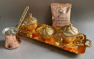 Turkish Coffee Gift Set of 2, Porcelain Cups Mugs Bowl Tray Spoons Pot Coffee