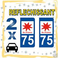 2 stickers REFLECHISSANT département 75 rétro-réfléchissant immatriculation AUTO