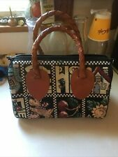 mary engelbreit Love Home Family Tapestry Leather Braid Purse Very Nice
