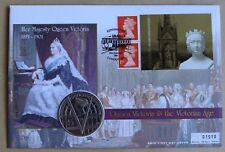 La Regina Vittoria L'età vittoriana 2001 MERCURIO FDC + 2001 £ 5 REGINA VITTORIA MEDAGLIA