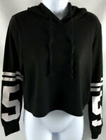 Forever 21 Women's Size Small Cropped Hoodie Pullover Sweater Black EUC A0505