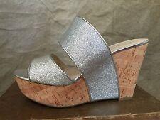 Nine West NEW Sandals Shoes SILVER GLITTER PLATFORM CORK Wedge SLIDES 8.5 Larysa