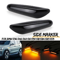 2x Amber LED Light Side Marker Lamp For BMW E36 E46 E60 E61 E90 E81 E84 E83  D