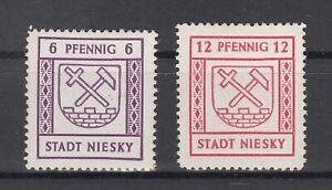 BY7059/ GERMANY – RUSSIAN ZONE – NIESKY – MI # 3 / 4 COMPLETE MINT MH