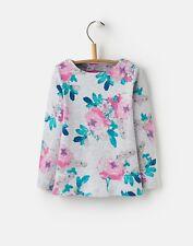 Joules Girls Grey Marl Rosebud Floral Harbour Long Sleeved Top Tee Pretty 6 Years