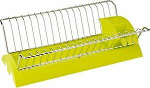 Dish Plate Drying Rack Organizer Drainer Removable Cutlery Caddy 18 Plate Holder